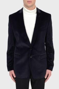 Бархатный синий пиджак