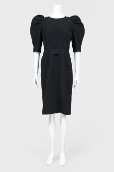 Платье миди с пышными рукавами