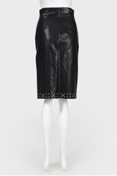 Кожаная юбка-карандаш