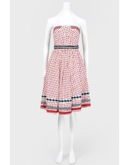 Платье в красный принт вишенки