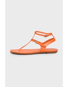 Оранжевые кожаные сандалии