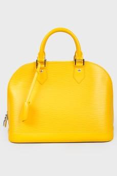 Ярко-желтая текстурированная сумка