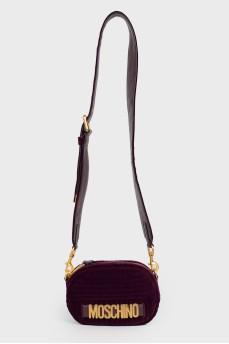 Велюровая фиолетовая сумка
