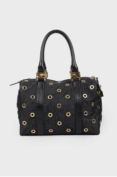 Черная сумка с люверсами