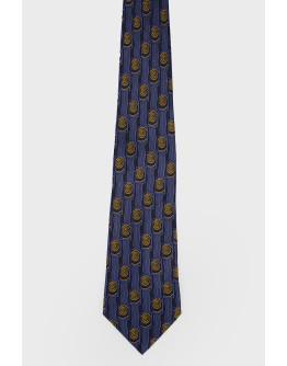 Темно-синий галстук в желтый принт