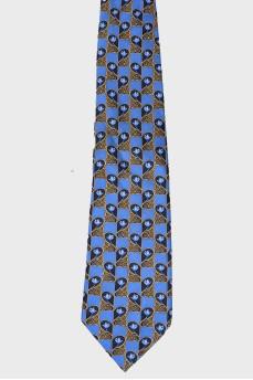 Голубой галстук в цветочный принт