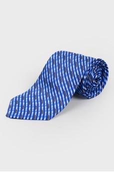 Голубой галстук в абстрактный принт