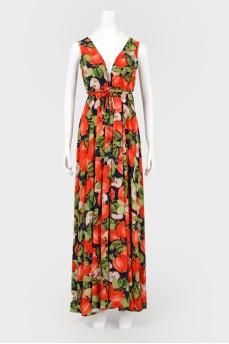 Пляжное платье-туника в принт яблоки