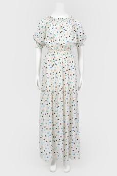 Белое платье в цветные горохи