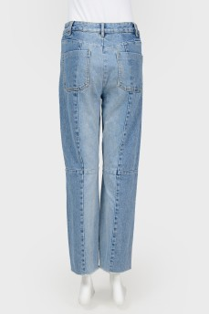 Прямые джинсы из разного денима