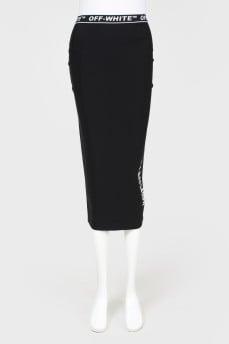 Трикотажная юбка с надписью