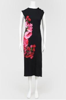 Сатиновое платье с цветочным принтом