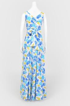 Платье макси в цветочный принт