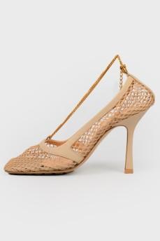 Туфли в сетку с квадратным носком
