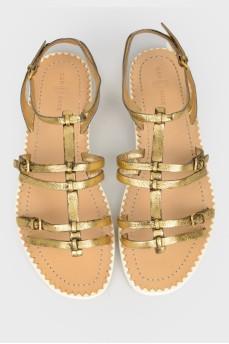 Золотистые кожаные сандалии