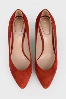 Бордовые замшевые туфли
