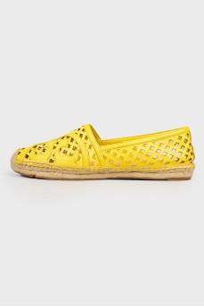 Желтые кружевные эспадрильи