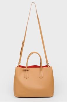 Кожаная карамельная сумка