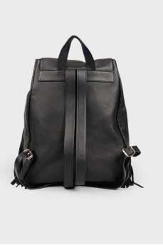 Кожаный рюкзак с бахромой