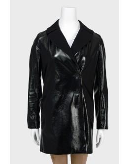 AS Лакированное прямое пальто