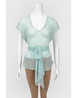 Прозрачная бирюзовая блуза