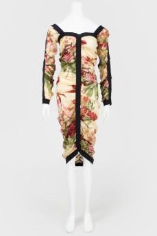 Полупрозрачное платье в цветочный принт