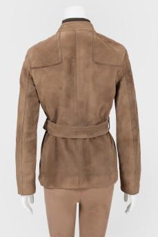 Замшевая куртка под пояс
