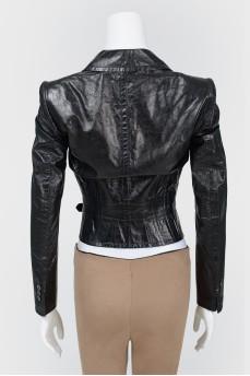 Кожаная укороченная куртка