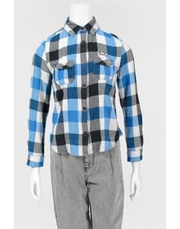 Рубашка в клетку и укороченным рукавом