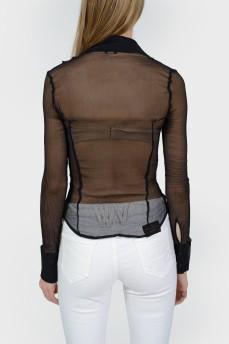 Полупрозрачная черная блуза