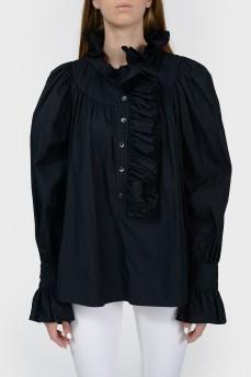 Черная блуза с объемными рукавами