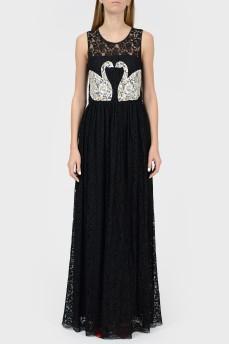Черное кружевное платье в пол