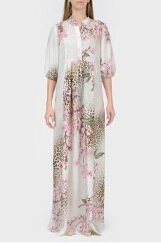 Платье в пол в леопардово-цветочный принт