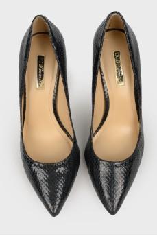 Черные туфли под кожу рептилии