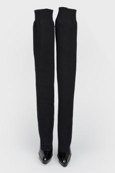Черные ботфорты-чулки