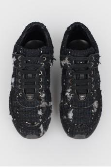 Черные твидовые кроссовки