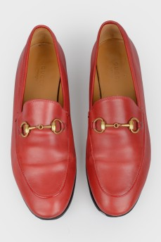Красные кожаные лоферы