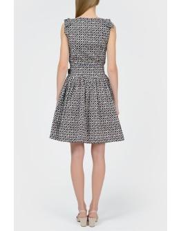 Платье с поясом в принт ромбами