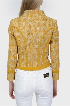 Желтый твидовый жакет с шелковыми вставками