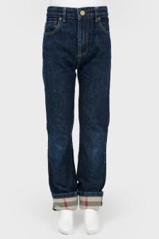 Темно-синие широкие джинсы