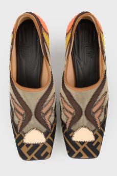 Цветные туфли  с квадратным носком с биркой
