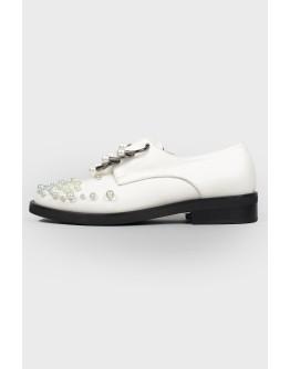 Белые туфли с жемчугом с биркой