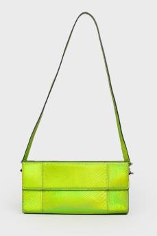 Зеленый неоновый клатч с биркой