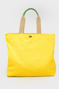 Желтый шоппер с принтом с биркой