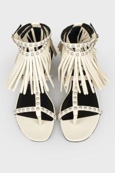 Кожаные сандалии с бахромой с биркой