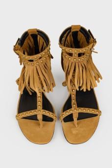 Замшевые сандалии с биркой