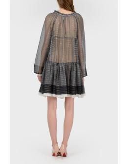Полупрозрачное платье на бежевой подкладке с биркой