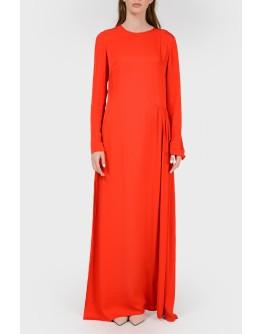 Красное платье в пол с разрезом с биркой