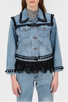 Джинсовая куртка с бахромой с биркой