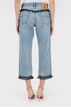 Голубые джинсы с черной отделкой с биркой